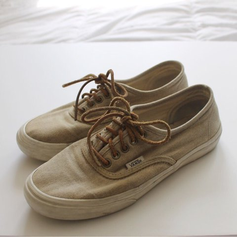 308dbc159baf4c Canvas Authentic Vans with Leather Laces. These Vans are in - Depop
