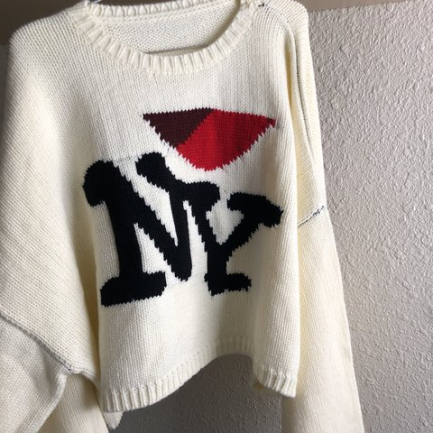 Knit Cropped Sweater I Love Ny Raf Simons Inspired Depop