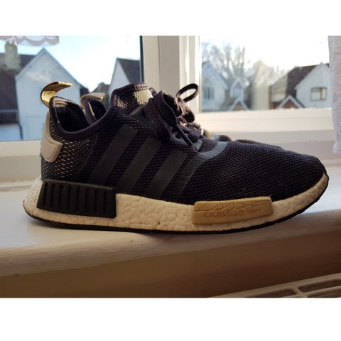 0a25da6f4dc4 Adidas NMD R1 trainers! ⚡Black with beige adidas writing on - Depop