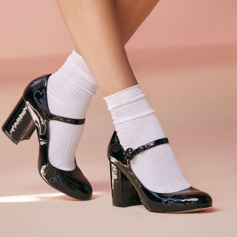 Urban Outfitters Black Patent Block Heel Mary Janes 🍒 brand - Depop