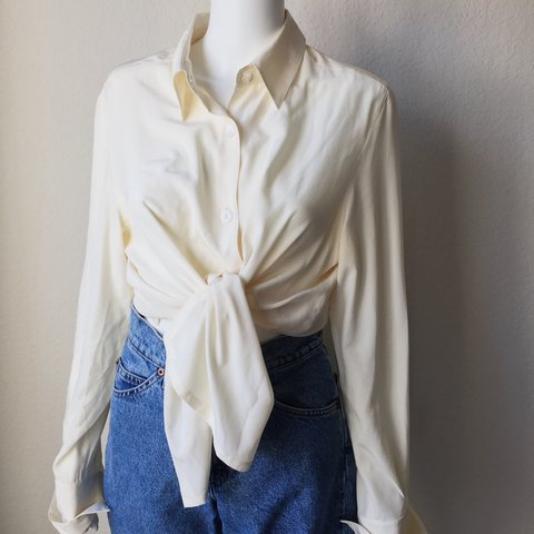 d72a74ea19 @realfriendss. last year. Houston, United States. Vintage Ivory Silk Blouse  ...