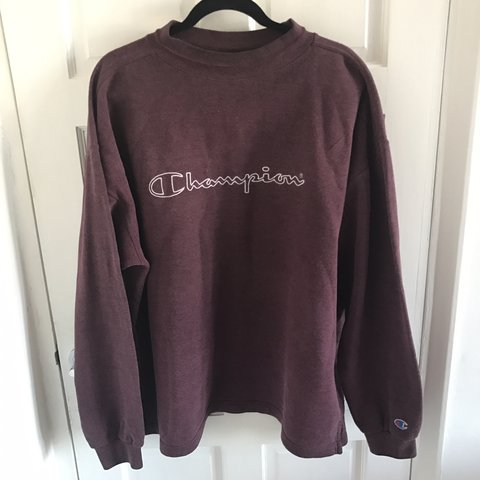 a3c9457e2fb3 Red purple  burgundy champion jumper. Authentic vintage from - Depop