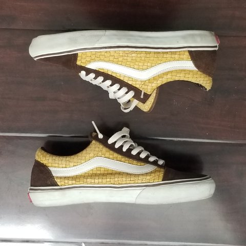 5963e75107 brown suede   yellow woven bamboo vans   purchased in the   - Depop