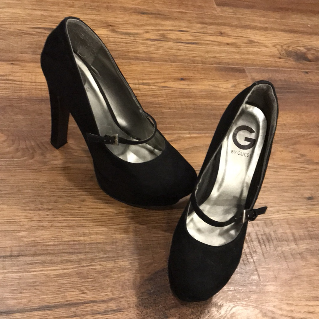 5eab32b0a62 6 inch black guess pumps with strap across the foot... - Depop