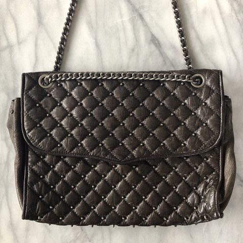 "09743e258 @marblevintage. 5 months ago. Stuyvesant, United States. Rebecca Minkoff  large studded ""Affair"" bag. Dark brown/charcoal leather ..."
