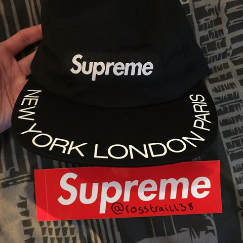 219be160f92 Supreme Visor Print Camp Cap in black from the SS18 OUT than - Depop