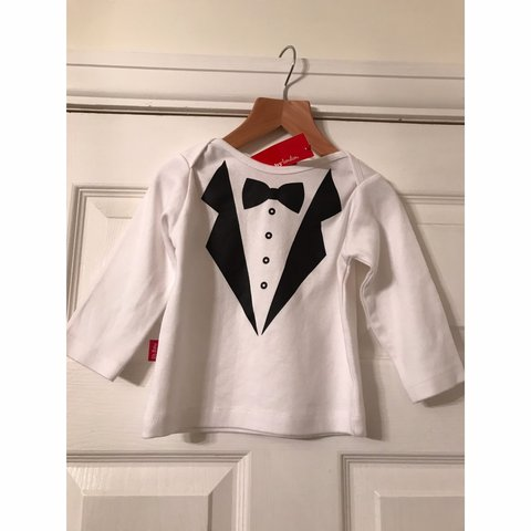 1933817d Oh baby London baby white long sleeve tuxedo print top 6-12 - Depop