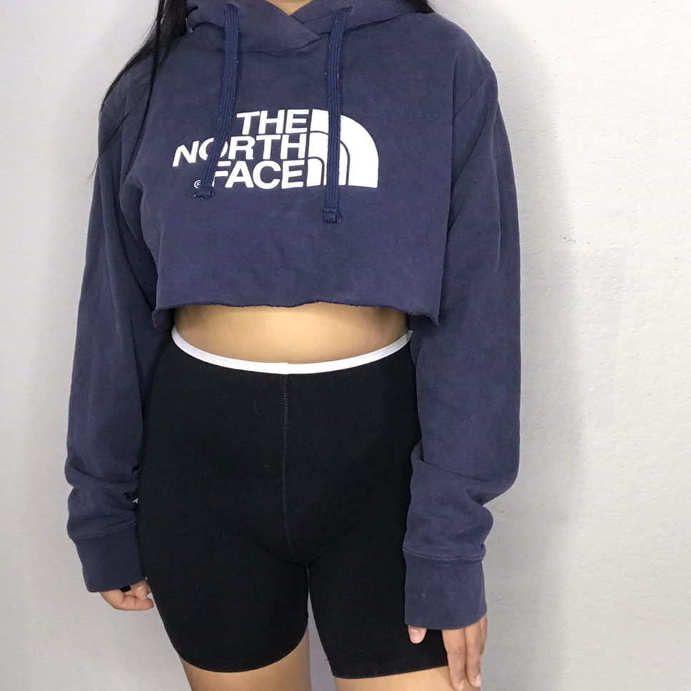 The North Face Cropped Hoodie Diy Raw Hem Cut Depop