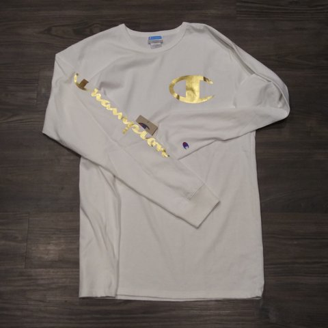 84d8b089 @padrevibes92. 8 months ago. Edinburg, Hidalgo County, United States. Champion  Heritage Long Sleeve White Gold foil 100% cotton. Thick material Good  Quality