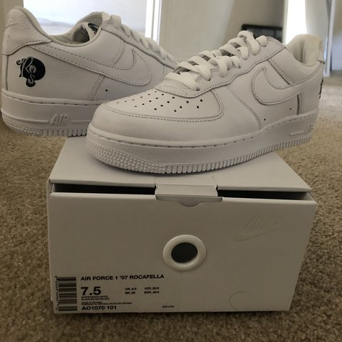 8259c71e8963 AIR FORCE 1  07 ROCAFELLA WHITE SIZE 7.5 ROC NATION AF1 WORN - Depop