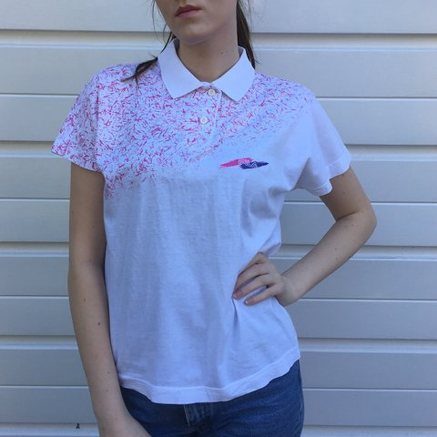 dcf88261 @backinthedayvintage. 2 years ago. Sheffield, United Kingdom. Women's vintage  Fila white and pink polo shirt ...