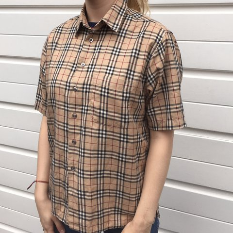 Womens Burberry nova check short sleeve shirt - size medium - Depop 019934ba99