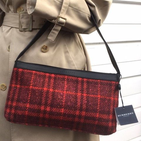 b7e615a359 NEW WITH TAGS - Women's Burberry Handbag in red check wool - - Depop