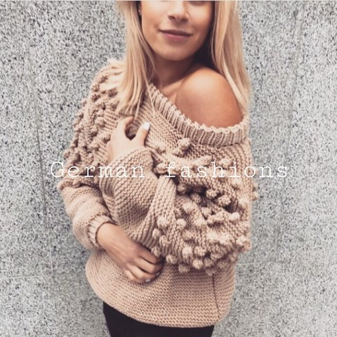 Hand knitted sweater wool brown clothing off shoulder cable - Depop 2557af3c6