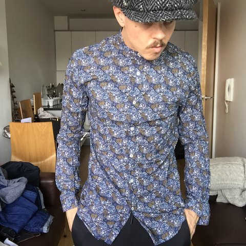 ad551706 SHINY PRINT T SHIRT Source · Mens Zara dove Paisley grandad collar shirt  size uk small 3 Depop