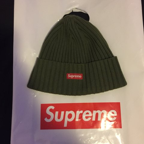 2445b7c8aba02 Supreme olive green ribbed beanie from SS18 Only worn a of - Depop