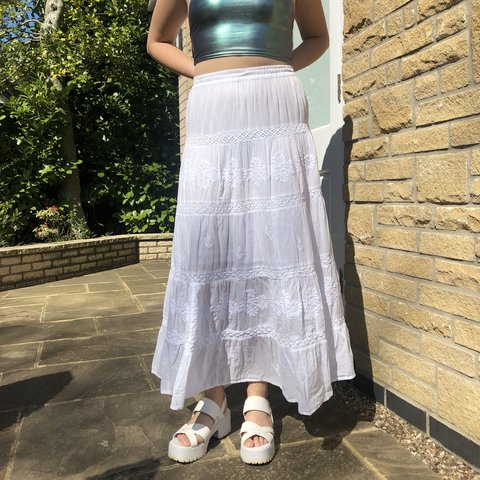 a437c0af88 Send offers ❤ The nicest long white tiered maxi skirt! and - Depop