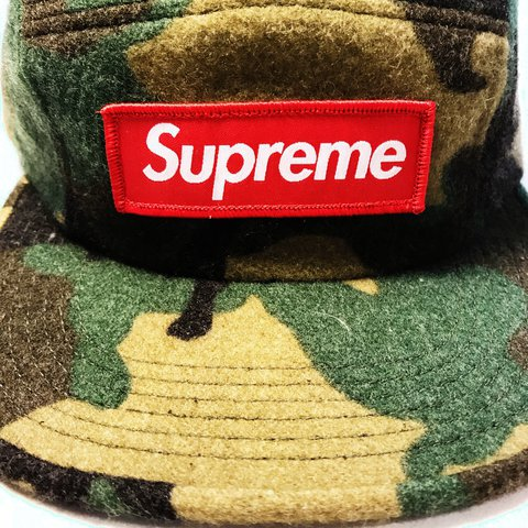 56f5a06678c Supreme Green Camo Wool Camp Cap FW17 Dead stock ( never - Depop