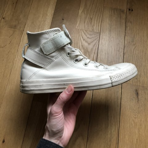 ad4c1f7ceebe Womens high top Converse in ivory white with straps and a on - Depop