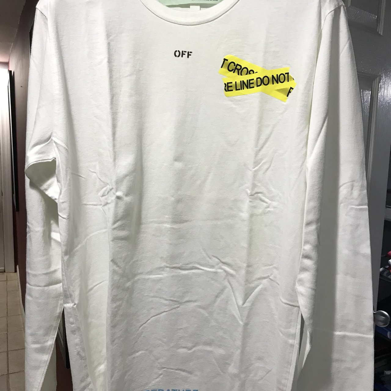 c8c2d0cbfc0 Off-White Fire Tape Long Sleeve tee. New with tags. Size XL. - Depop