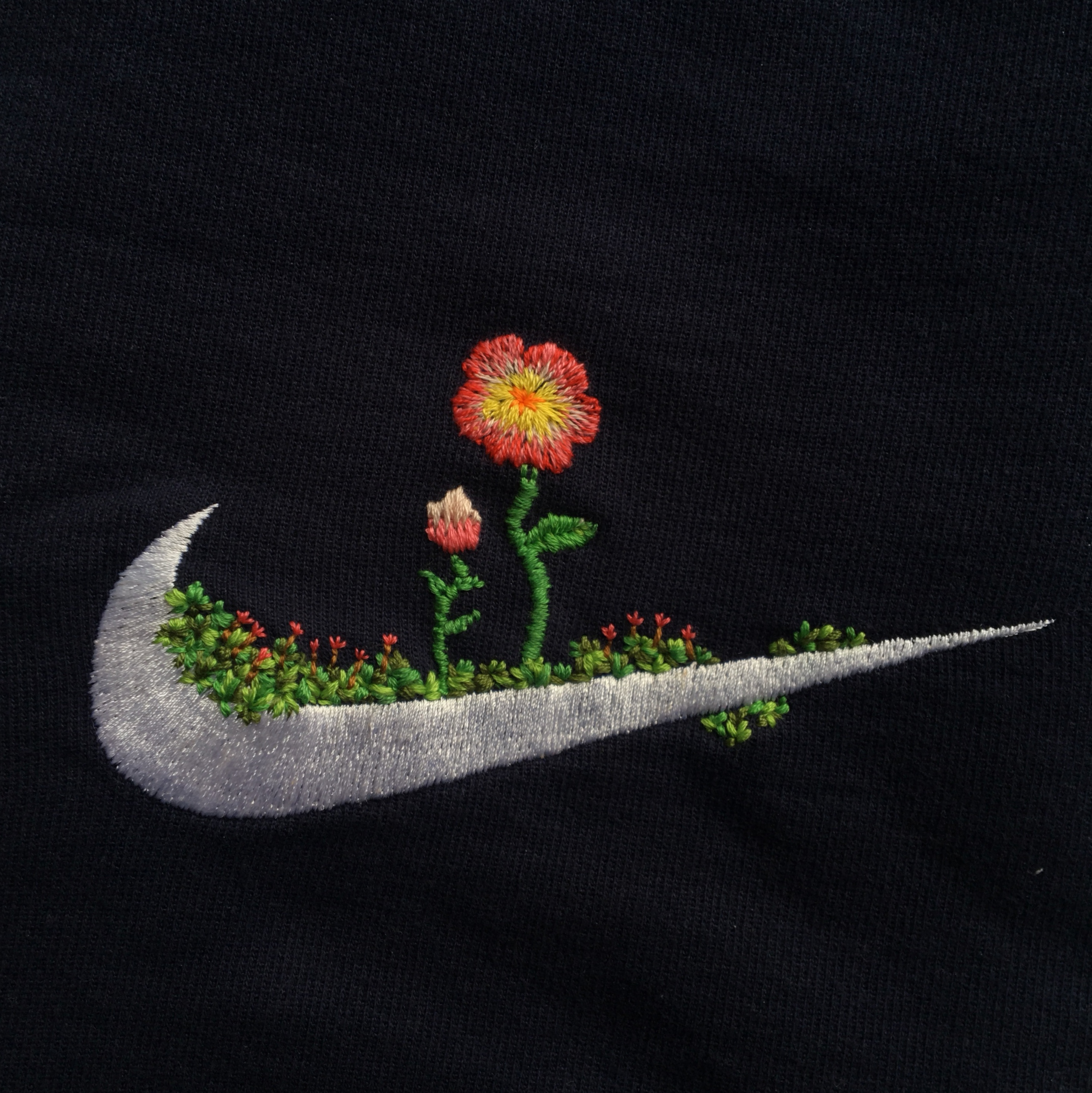 Hand Embroidered Nike Jumper Totally Unique Depop