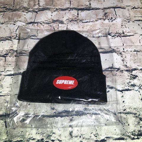 31ee73d4a546b Supreme Rubber Patch Beanie Black SS18 One size NO free to - Depop