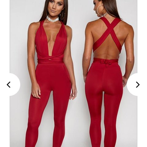 d147389dd9b1 Babyboo fashion Luxe life jumpsuit in red maroon size 8 v - Depop