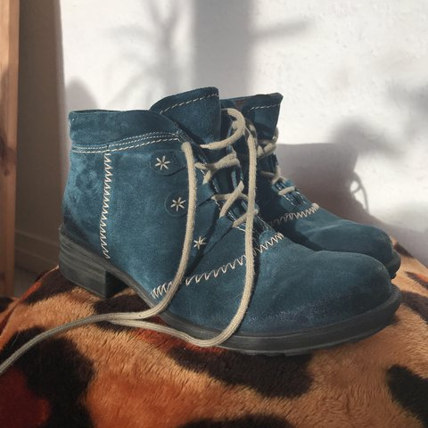 f990f4940553 Josef Seibel blue suede boots. Uk 5. Worn but plenty of wear - Depop