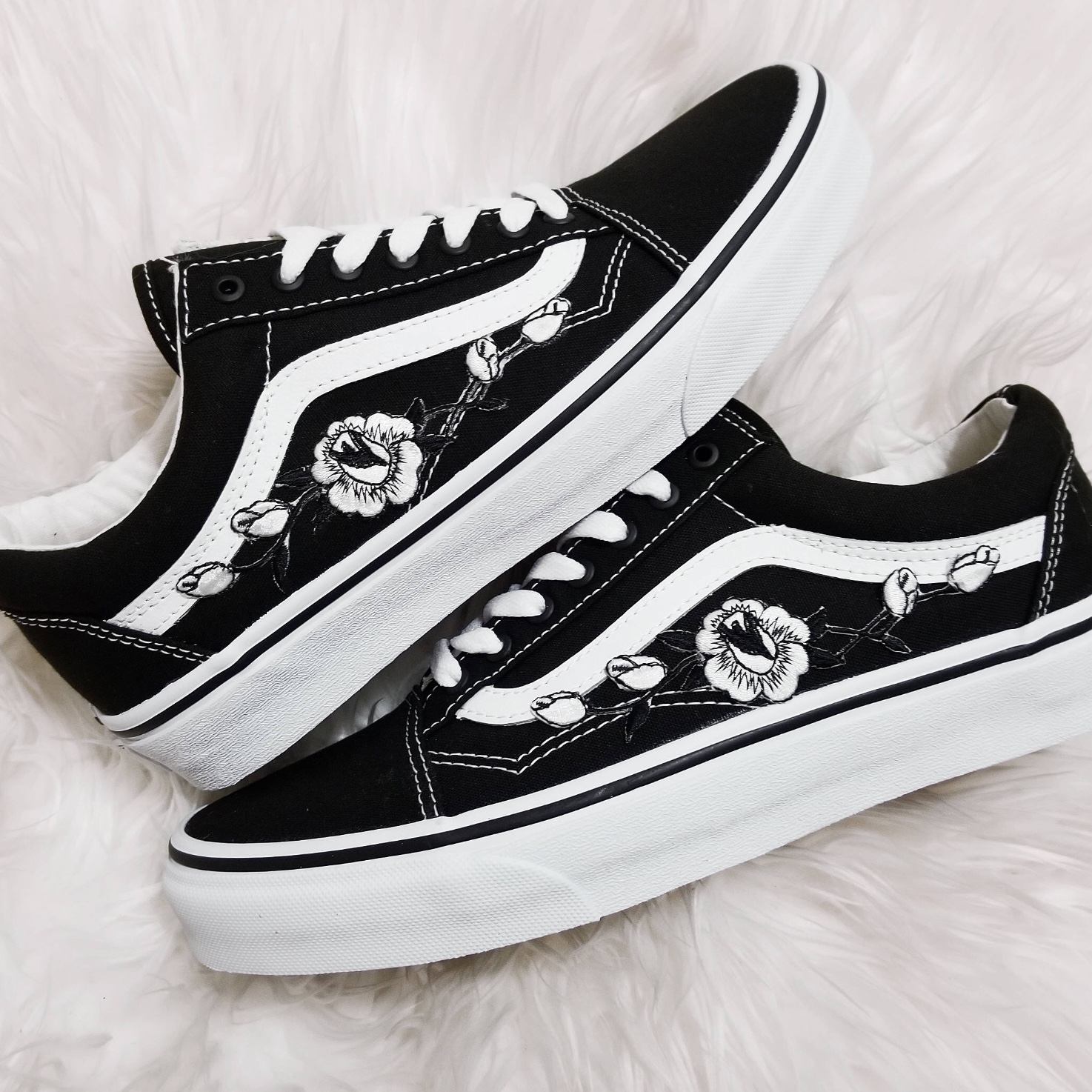 Black and white classic vans with embroidered black Depop