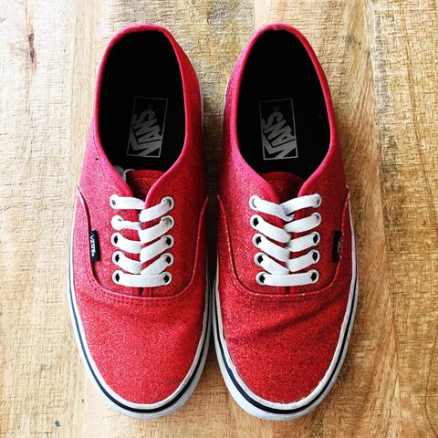 3a339b983d96 LOWERED PRICE!! Ruby red, sparkly, vans. #red #sparkles - Depop