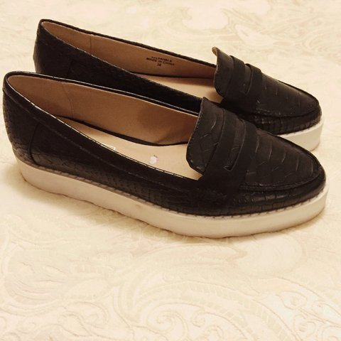 80ec898fdd9 Topshop black snake leather look flat shoes with white sole. - Depop