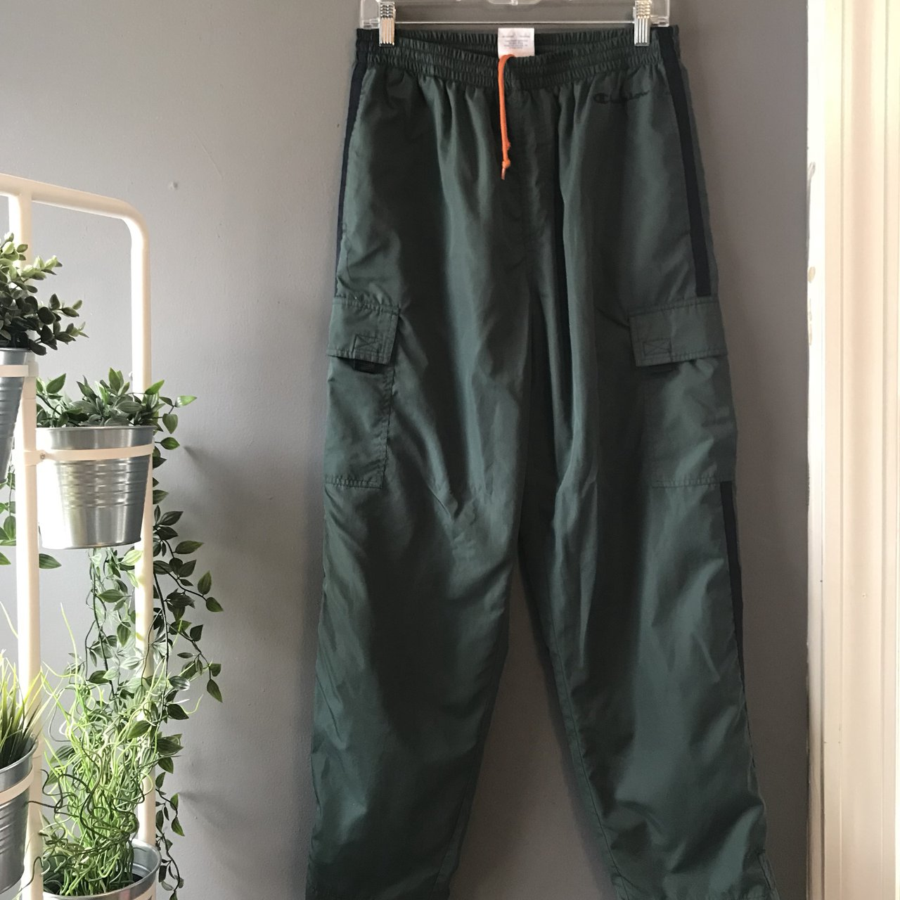 5e2c228faf42a Vintage army green track pants. Has three pockets two on the - Depop