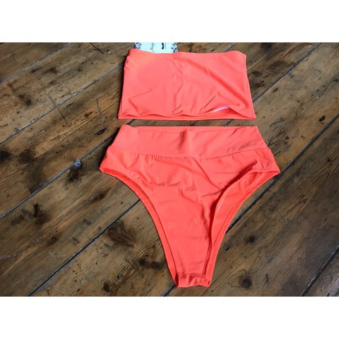56bfd599ef91 Orange bandeau two piece swimsuit. New