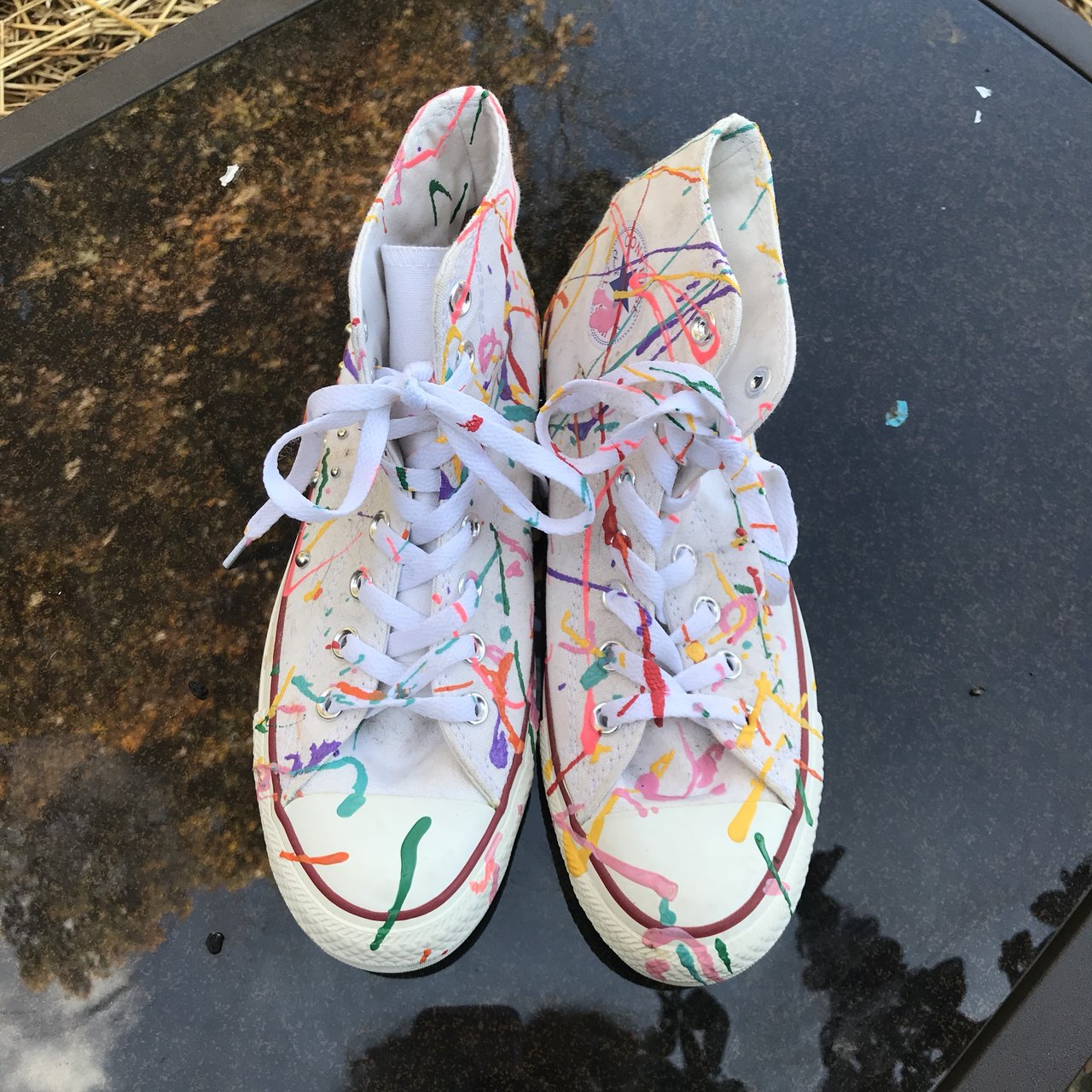 53ce1ef6ba97 🌈RAINBOW CONVERSE🌈 white converse painted with puffy size - Depop