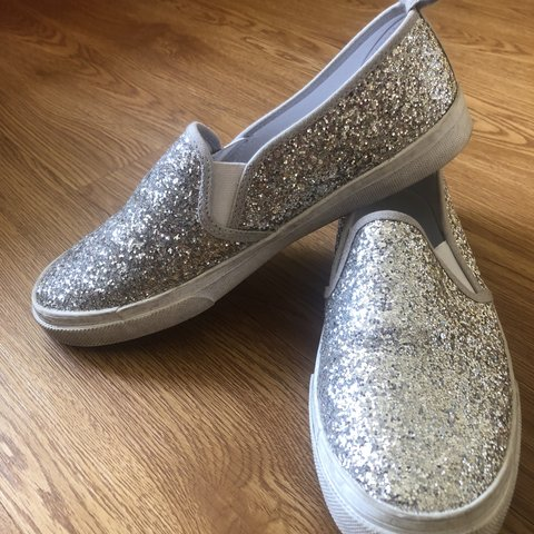 8a1d2b47d Sparkly silver slip on shoes in great condition barely used - Depop