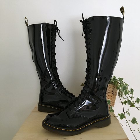 ede990424a6 @doctillyoudrop. last year. United Kingdom. Dr Martens 1B60 knee high boots.  Black patent leather boots with 20 hole lace up eyelets front ...