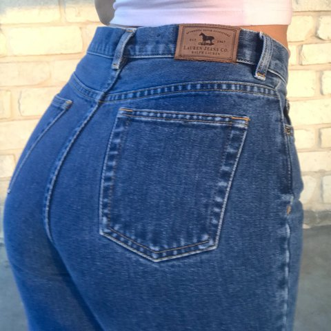a5734c7f81848 @angie_caz. 10 months ago. Fort Worth, TX, USA. Vintage Ralph Lauren high  waisted mom jeans.