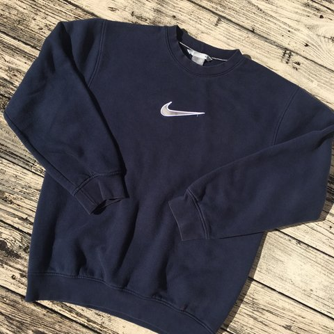 2d31a2a5 vintage nike crewneck - nike check embroidery on chest, and - Depop