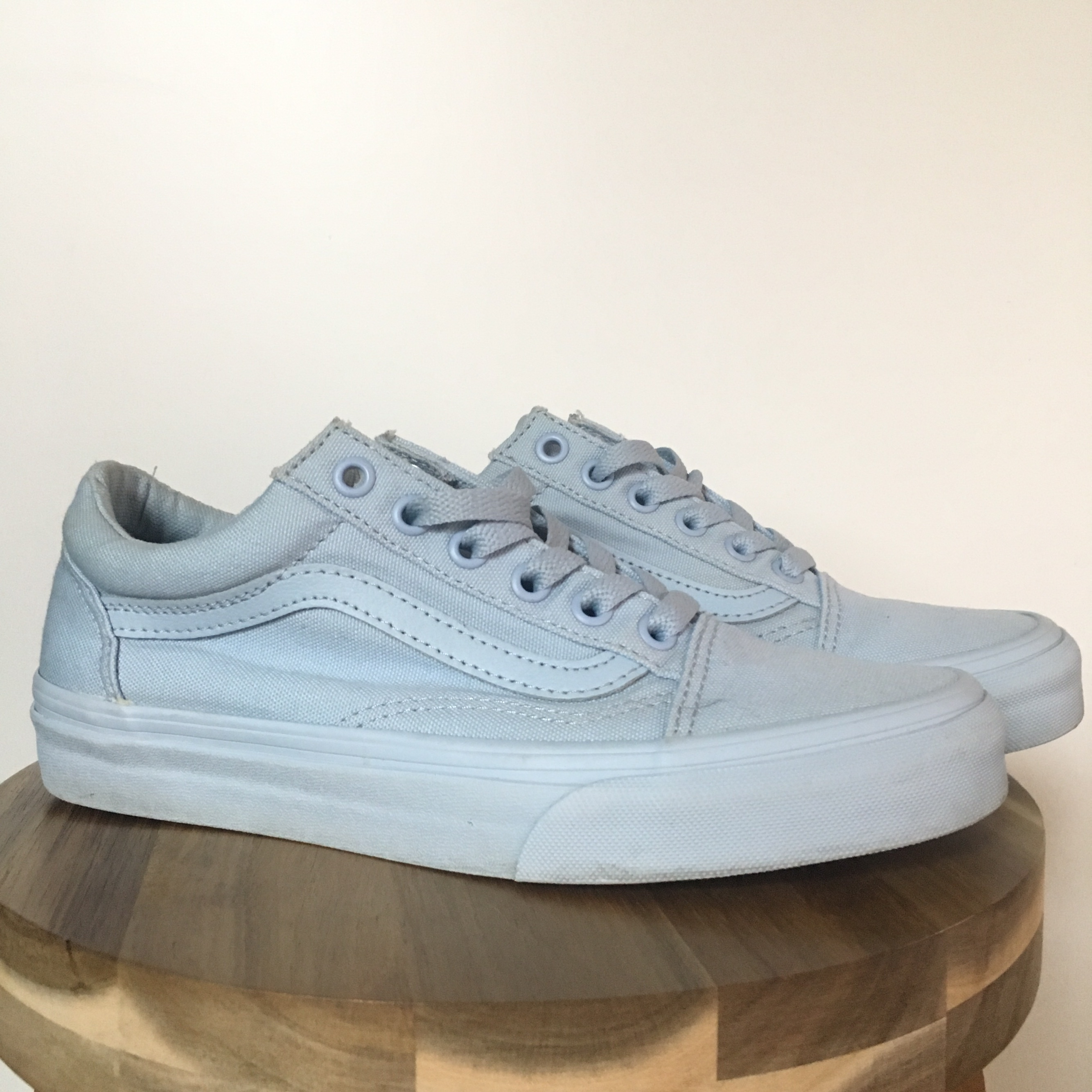 Vans Old Skool Mono Sky Blue Skate Shoes  Very clean    - Depop