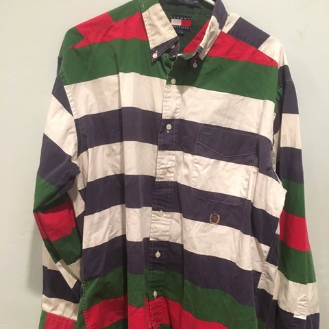 81a598ace @lokou. 9 months ago. Encinitas, United States. Tommy Hilfiger striped long  sleeve polo shirt. Size men's Large