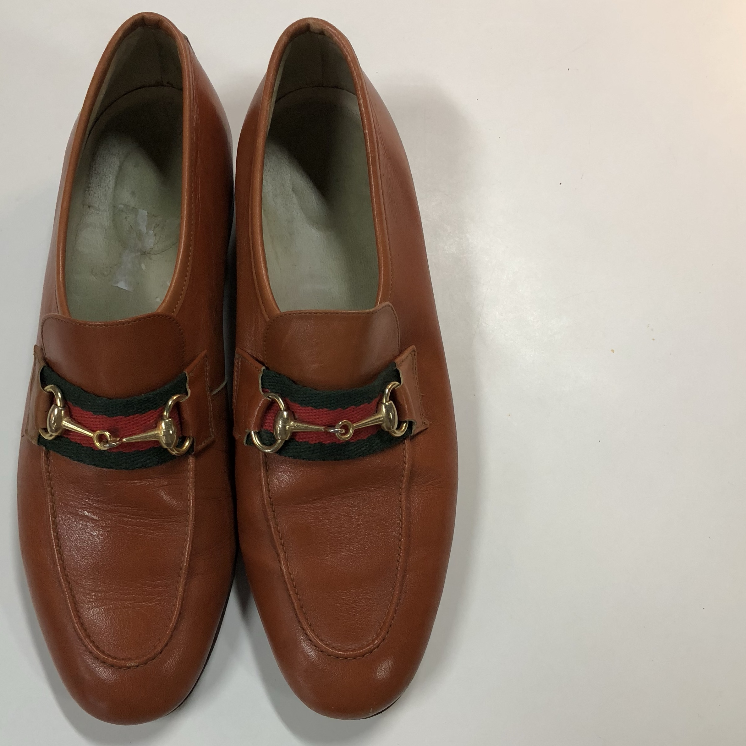 c471caaf9 frenchfriedvintage. Knoxville, United States. Vintage Gucci men's leather  loafers Tan Brown Red and green ...