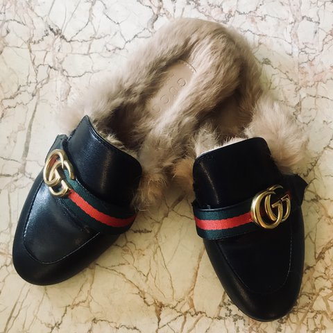 Double G Gucci Fur Slides- 0
