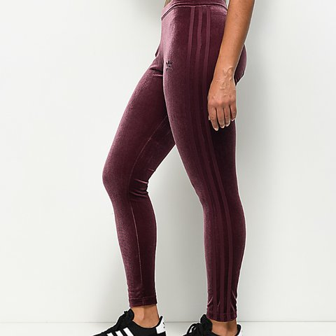 8398f51dfde8c @jessmacareavy_. last year. Manchester, United Kingdom. Adidas maroon  velvet leggings size 12 but would fit size 10 ...