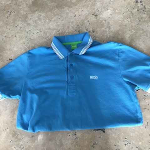 29d5f2524 @azzamck99. last year. Thornaby, United Kingdom. Men's light blue polo shirt,  Morden fit L Hugo boss in good condition