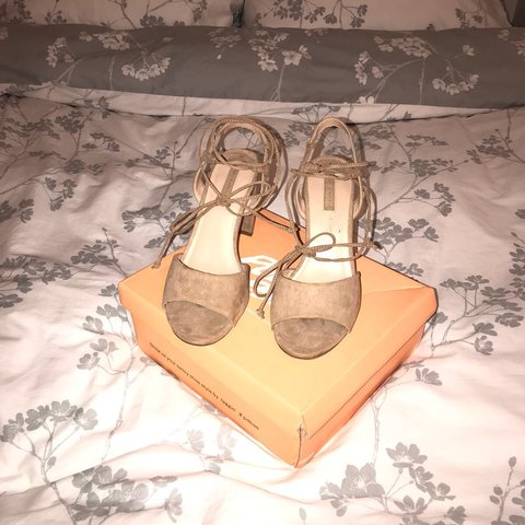 4078e931d5 Nude public desire chunky lace up heels, only worn once!! 7 - Depop