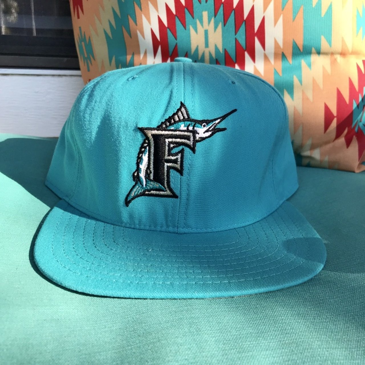 Vintage Florida Marlins New Era SnapBack Hat. Size owned as - Depop fd3ef7a6fba2