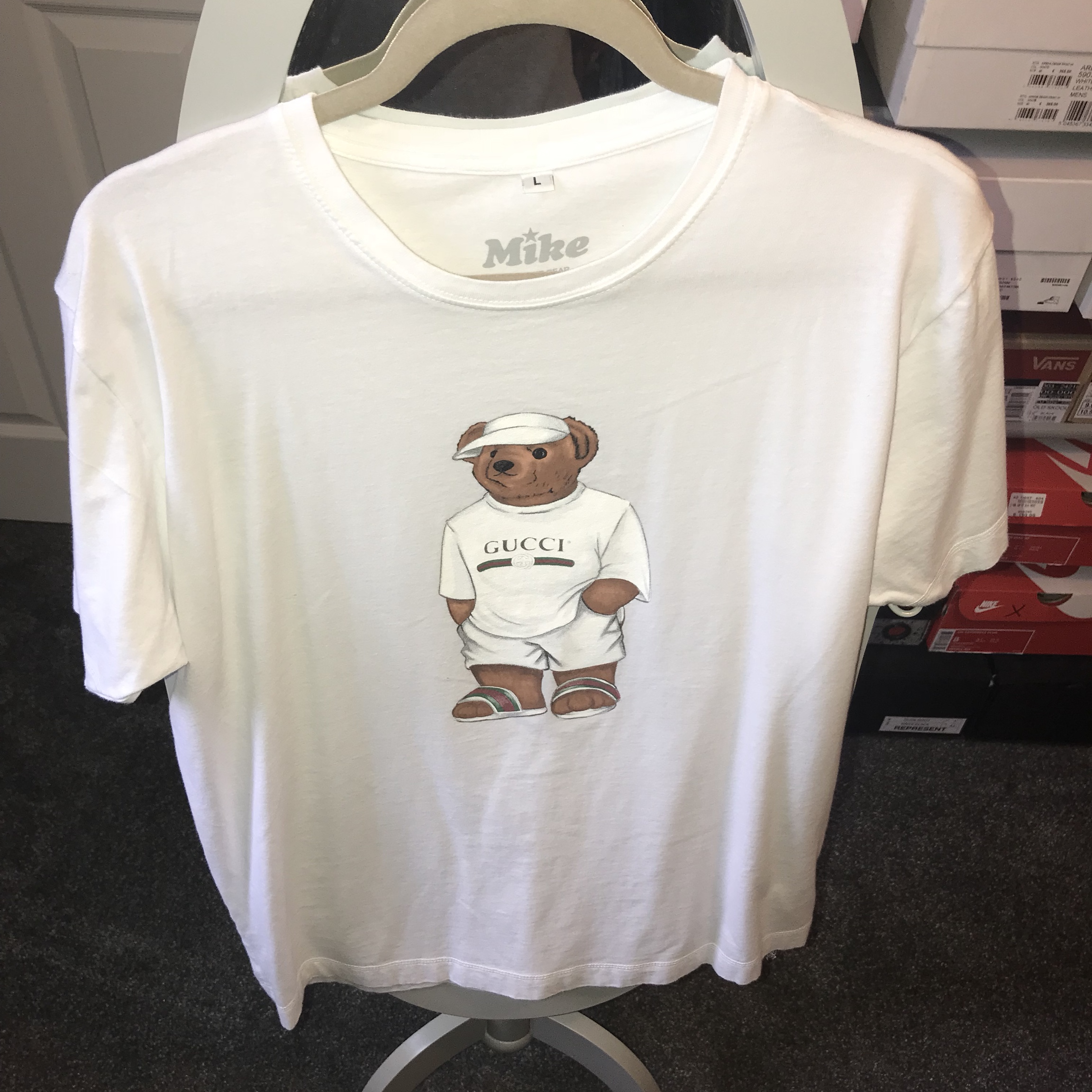 e76807662 Men's Mike the bear white T shirt, with Gucci bear detail on - Depop
