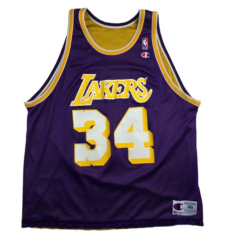 f2c008b240c Vintage Champion Shaquille O'Neal Lakers Jersey | Size 48 | - Depop