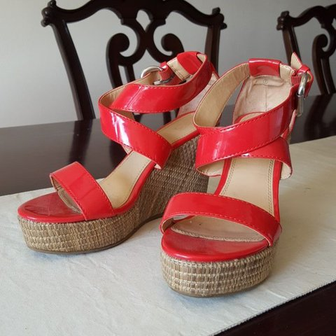 904b3e4f8f1 NY Co. bright red strappy wedges size 7. Four inch heel. - Depop