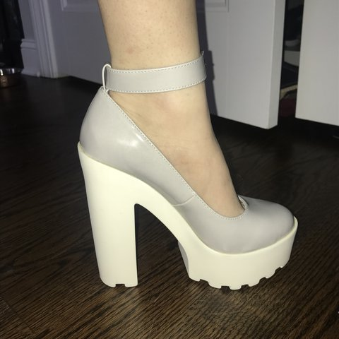 13876707f7f Forever 21 chunky heels. Light grey with a white platform. - Depop